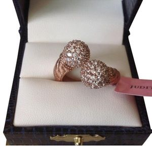 NWT 14K Rose Gold Clad Diamonique Bypass Ring